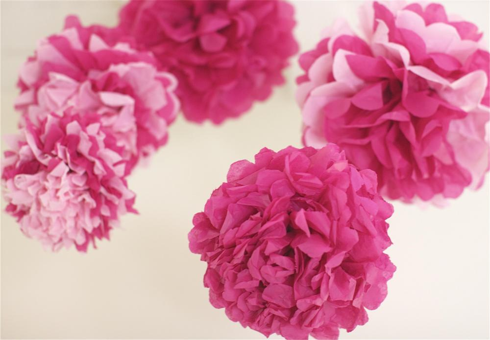 Pink Tissue Paper Pom Poms 5 Nursery Mobile / Baby Shower / Decoration READY TO SHIP